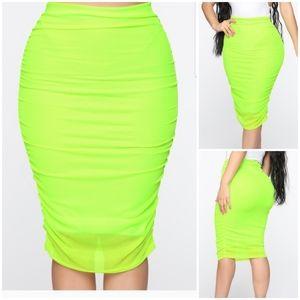 🆕 Neon Greenish Yellow Midi Ruched Skirt